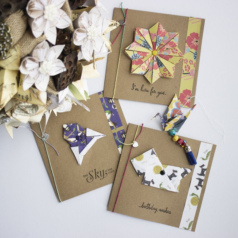 3 Handmade Origami Greetings Cards With Hanging Crane Flower Rocket Dog